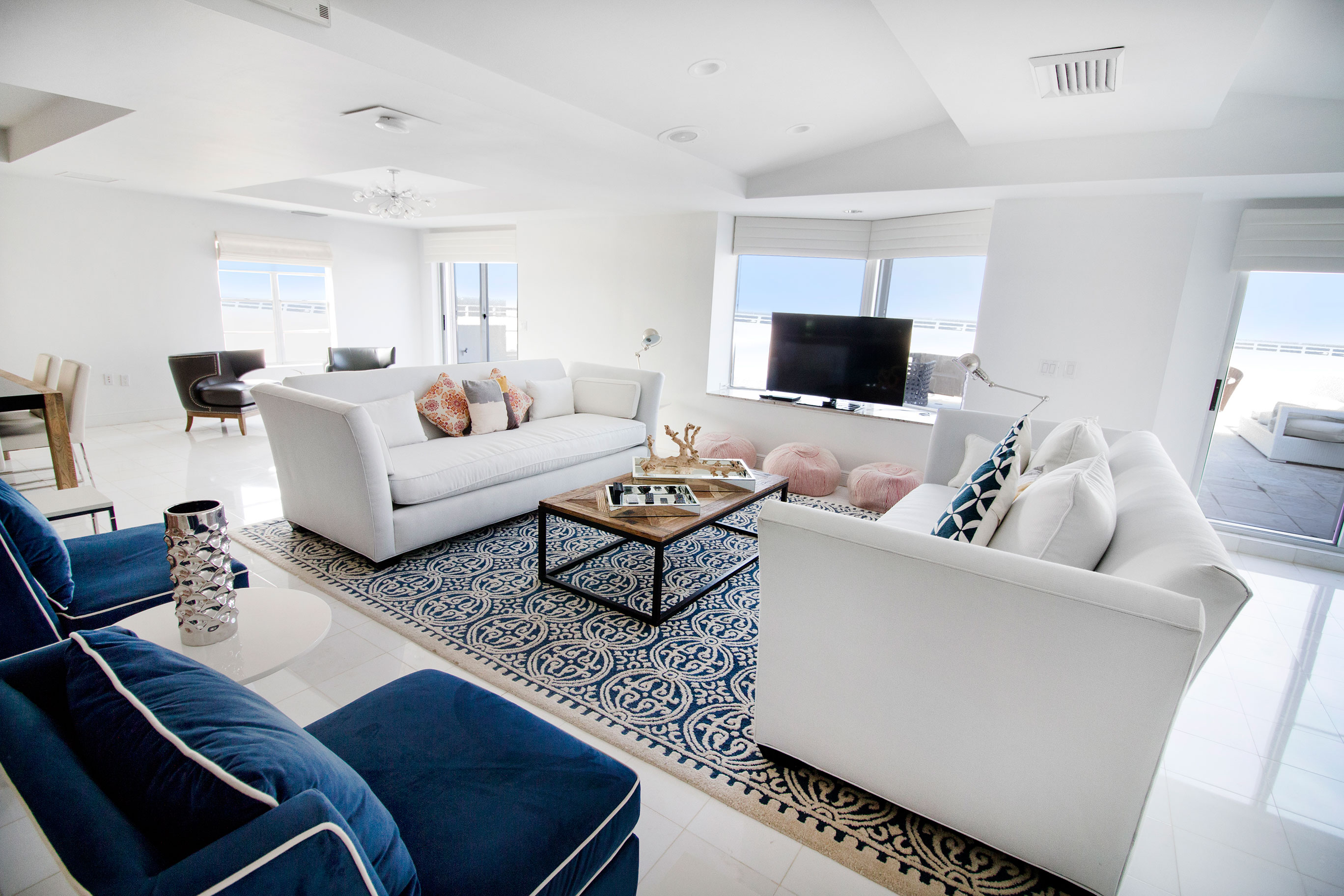 Living room of penthouse at seacoast suites
