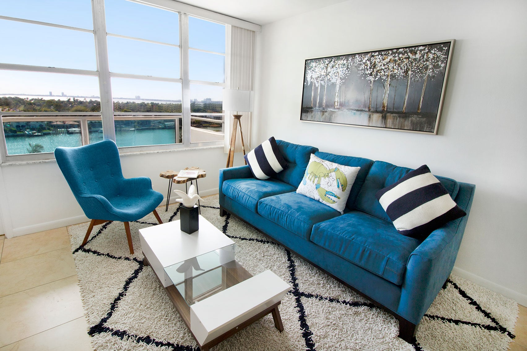 Living room of a Deluxe 2 Bedroom Apartments at Seacoast Suites