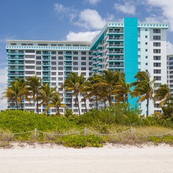 View of the building of Seacoast Suites from the beach