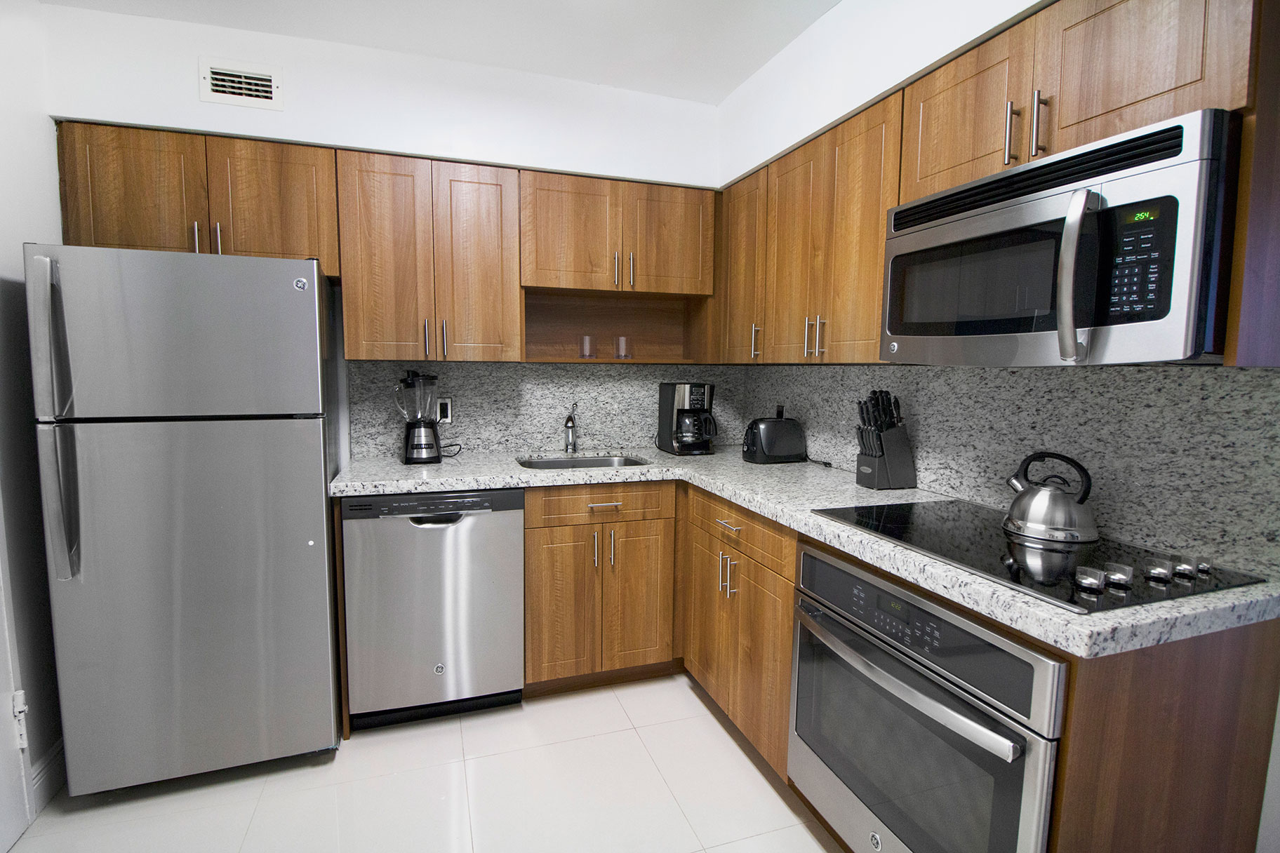Renovated kitchen at Seacoast Suites