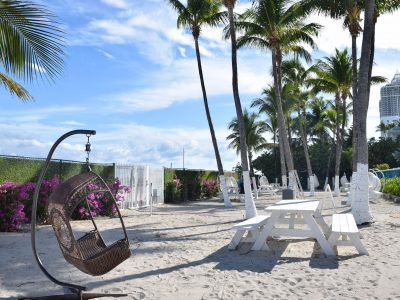 Private Beach area at Seacoast Suites on Miami Beach